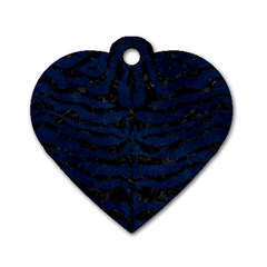 Skin2 Black Marble & Blue Grunge (r) Dog Tag Heart (two Sides) by trendistuff