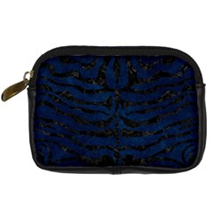 Skin2 Black Marble & Blue Grunge (r) Digital Camera Leather Case by trendistuff