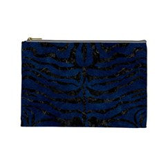 Skin2 Black Marble & Blue Grunge (r) Cosmetic Bag (large)