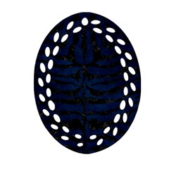 Skin2 Black Marble & Blue Grunge (r) Oval Filigree Ornament (two Sides) by trendistuff
