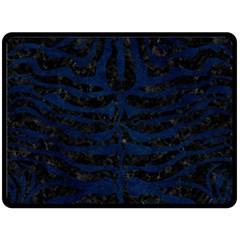 Skin2 Black Marble & Blue Grunge Fleece Blanket (large) by trendistuff
