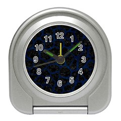 Skin1 Black Marble & Blue Grunge (r) Travel Alarm Clock by trendistuff