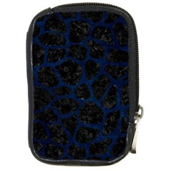 Skin1 Black Marble & Blue Grunge (r) Compact Camera Leather Case by trendistuff