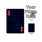 SKIN1 BLACK MARBLE & BLUE GRUNGE Playing Cards 54 (Mini) Front - Heart4