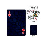SKIN1 BLACK MARBLE & BLUE GRUNGE Playing Cards 54 (Mini) Front - Heart9