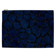 Skin1 Black Marble & Blue Grunge Cosmetic Bag (xxl) by trendistuff