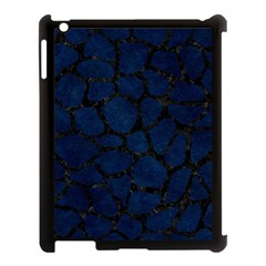 Skin1 Black Marble & Blue Grunge Apple Ipad 3/4 Case (black) by trendistuff