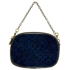 Scales3 Black Marble & Blue Grunge (r) Chain Purse (two Sides) by trendistuff