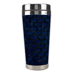 Scales3 Black Marble & Blue Grunge (r) Stainless Steel Travel Tumbler by trendistuff