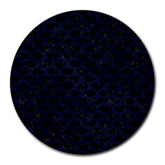 Scales3 Black Marble & Blue Grunge Round Mousepad by trendistuff