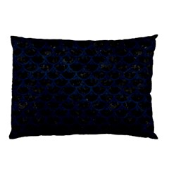 Scales3 Black Marble & Blue Grunge Pillow Case by trendistuff