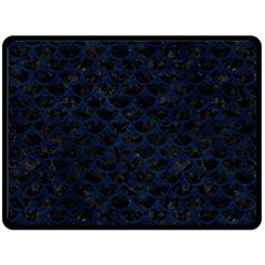 Scales3 Black Marble & Blue Grunge Fleece Blanket (large) by trendistuff