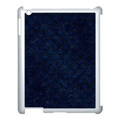 Scales2 Black Marble & Blue Grunge (r) Apple Ipad 3/4 Case (white) by trendistuff