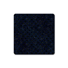 Scales2 Black Marble & Blue Grunge Magnet (square) by trendistuff