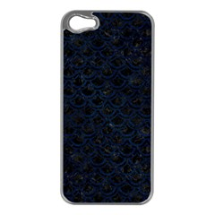 Scales2 Black Marble & Blue Grunge Apple Iphone 5 Case (silver) by trendistuff