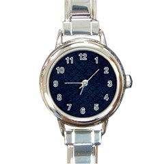 Scales1 Black Marble & Blue Grunge (r) Round Italian Charm Watch by trendistuff