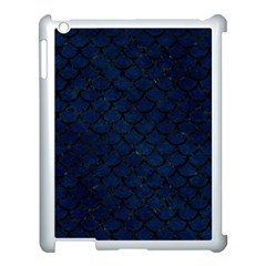 Scales1 Black Marble & Blue Grunge (r) Apple Ipad 3/4 Case (white) by trendistuff