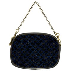 Scales1 Black Marble & Blue Grunge Chain Purse (one Side) by trendistuff