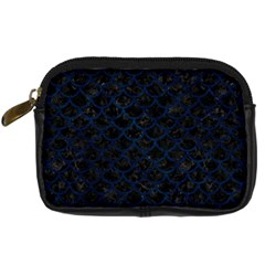 Scales1 Black Marble & Blue Grunge Digital Camera Leather Case by trendistuff