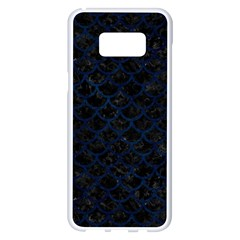 Scales1 Black Marble & Blue Grunge Samsung Galaxy S8 Plus White Seamless Case