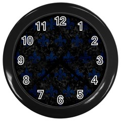 Royal1 Black Marble & Blue Grunge (r) Wall Clock (black) by trendistuff