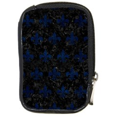 Royal1 Black Marble & Blue Grunge (r) Compact Camera Leather Case by trendistuff