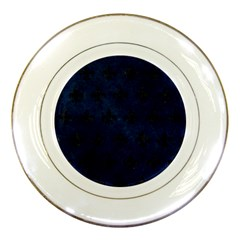 Royal1 Black Marble & Blue Grunge Porcelain Plate by trendistuff