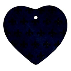 Royal1 Black Marble & Blue Grunge Heart Ornament (two Sides) by trendistuff