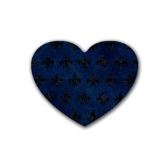 Royal1 Black Marble & Blue Grunge Rubber Coaster (heart) by trendistuff