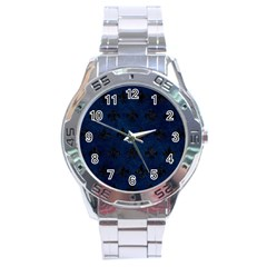 Royal1 Black Marble & Blue Grunge Stainless Steel Analogue Watch by trendistuff