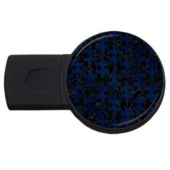 Puzzle1 Black Marble & Blue Grunge Usb Flash Drive Round (4 Gb)