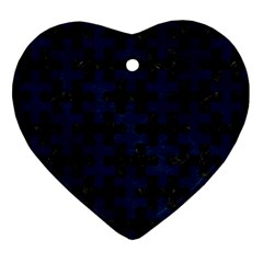 Puzzle1 Black Marble & Blue Grunge Heart Ornament (two Sides) by trendistuff