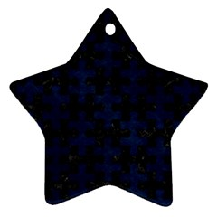 Puzzle1 Black Marble & Blue Grunge Star Ornament (two Sides) by trendistuff