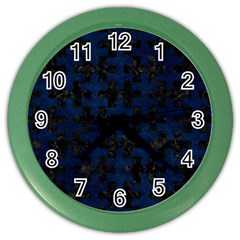 Puzzle1 Black Marble & Blue Grunge Color Wall Clock by trendistuff