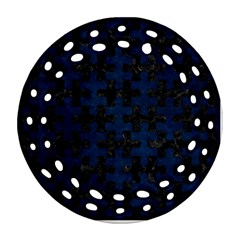 Puzzle1 Black Marble & Blue Grunge Round Filigree Ornament (two Sides) by trendistuff