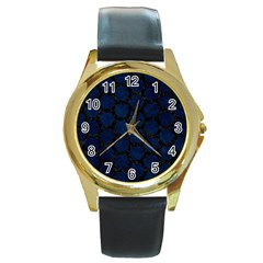 Hexagon2 Black Marble & Blue Grunge (r) Round Gold Metal Watch by trendistuff