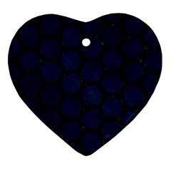 Hexagon2 Black Marble & Blue Grunge (r) Heart Ornament (two Sides) by trendistuff