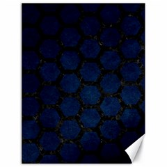 Hexagon2 Black Marble & Blue Grunge (r) Canvas 18  X 24  by trendistuff