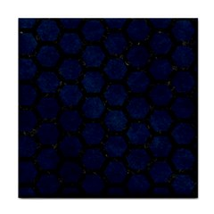 Hexagon2 Black Marble & Blue Grunge (r) Face Towel by trendistuff