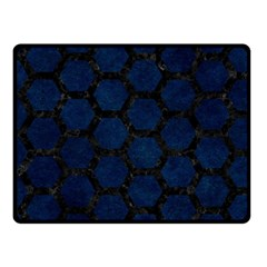 Hexagon2 Black Marble & Blue Grunge (r) Fleece Blanket (small) by trendistuff