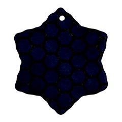 Hexagon2 Black Marble & Blue Grunge (r) Snowflake Ornament (two Sides) by trendistuff