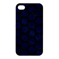 Hexagon2 Black Marble & Blue Grunge (r) Apple Iphone 4/4s Hardshell Case by trendistuff