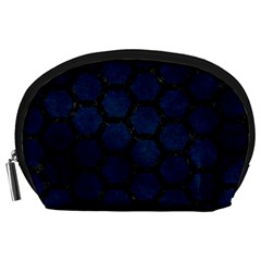 Hexagon2 Black Marble & Blue Grunge (r) Accessory Pouch (large)