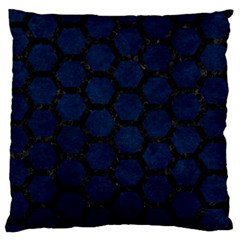 Hexagon2 Black Marble & Blue Grunge (r) Large Flano Cushion Case (two Sides) by trendistuff