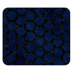 Hexagon2 Black Marble & Blue Grunge (r) Double Sided Flano Blanket (small) by trendistuff