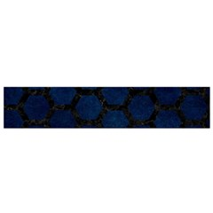 Hexagon2 Black Marble & Blue Grunge (r) Flano Scarf (small) by trendistuff