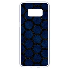 Hexagon2 Black Marble & Blue Grunge (r) Samsung Galaxy S8 White Seamless Case by trendistuff