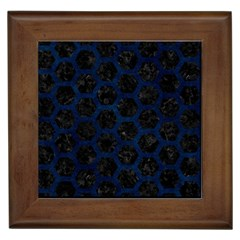 Hexagon2 Black Marble & Blue Grunge Framed Tile