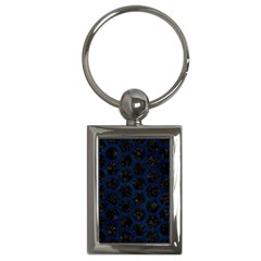 Hexagon2 Black Marble & Blue Grunge Key Chain (rectangle) by trendistuff