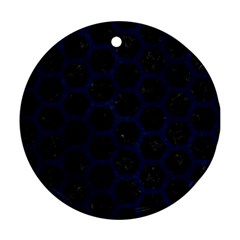 Hexagon2 Black Marble & Blue Grunge Round Ornament (two Sides) by trendistuff